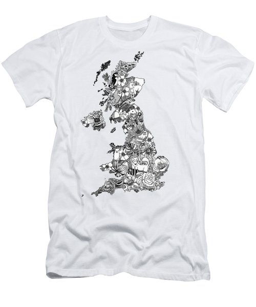 Uk Map Men's T-Shirt (Slim Fit) by Hannah Edge