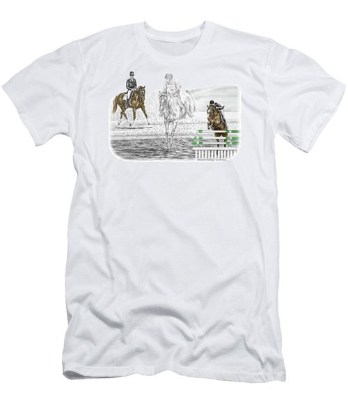 Ultimate Challenge - Horse Eventing Print Color Tinted Men's T-Shirt (Slim Fit) by Kelli Swan