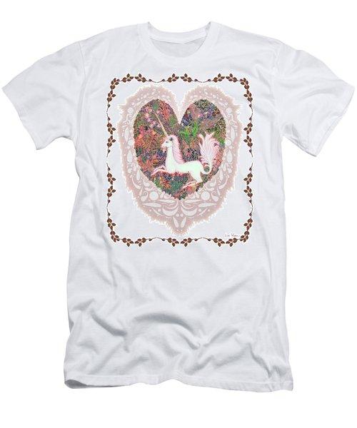 Men's T-Shirt (Slim Fit) featuring the digital art Unicorn In A Pink Heart by Lise Winne