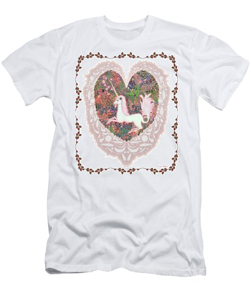 Unicorn In A Pink Heart Men's T-Shirt (Athletic Fit)