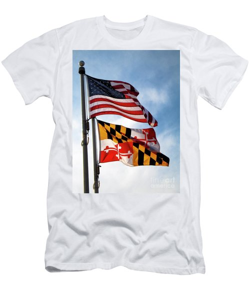 Us And Maryland Flags Men's T-Shirt (Athletic Fit)