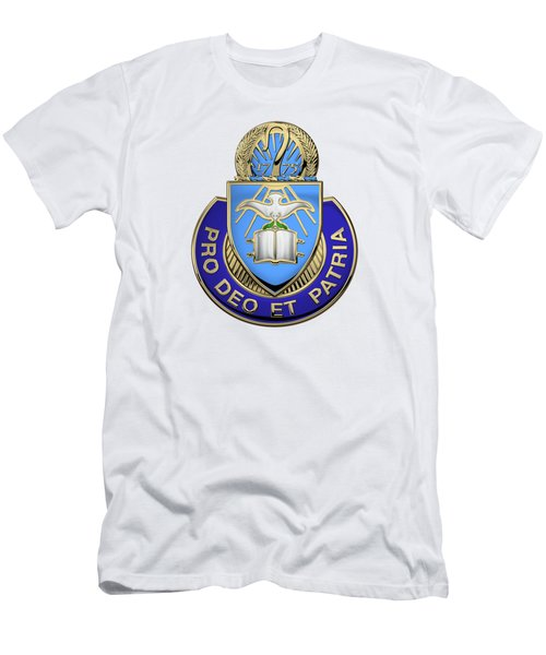 Men's T-Shirt (Slim Fit) featuring the digital art U.s. Army Chaplain Corps - Regimental Insignia Over White Leather by Serge Averbukh