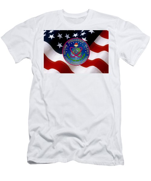 U. S. Defense Intelligence Agency - D I A Emblem Over Flag Men's T-Shirt (Athletic Fit)