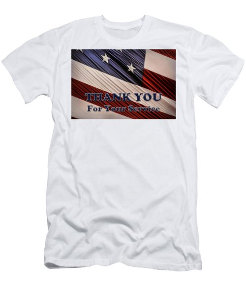 Usa Military Veterans Patriotic Flag Thank You Men's T-Shirt (Athletic Fit)