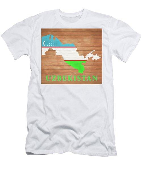 Uzbekistan Rustic Map On Wood Men's T-Shirt (Athletic Fit)