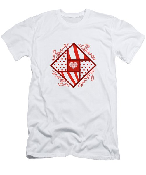Men's T-Shirt (Slim Fit) featuring the digital art Valentine 4 Square Quilt Block by Methune Hively