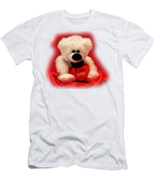 Men's T-Shirt (Slim Fit) featuring the photograph Valentine Bear by Linda Phelps