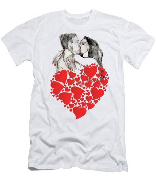 Valentine's Kiss - Valentine's Day Men's T-Shirt (Slim Fit) by Carolyn Weltman