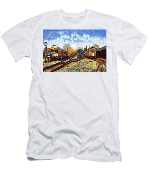 Van Gogh.s Train Station 7d11513 Men's T-Shirt (Athletic Fit)