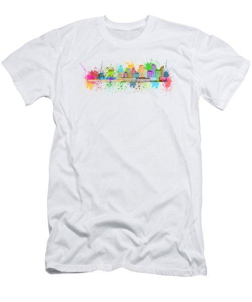 Vancouver Bc Skyline Paint Splatter Illustration Men's T-Shirt (Athletic Fit)
