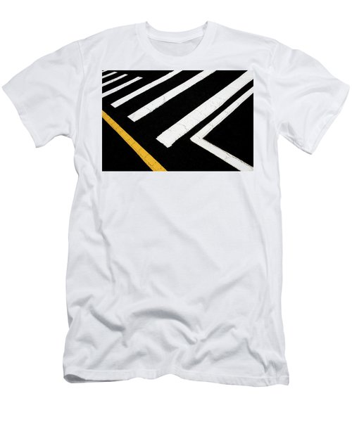 Men's T-Shirt (Athletic Fit) featuring the photograph Vanishing Traffic Lines With Colorful Edge by Gary Slawsky