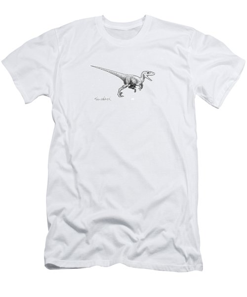 Men's T-Shirt (Slim Fit) featuring the drawing Velociraptor - Dinosaur Black And White Ink Drawing by Karen Whitworth
