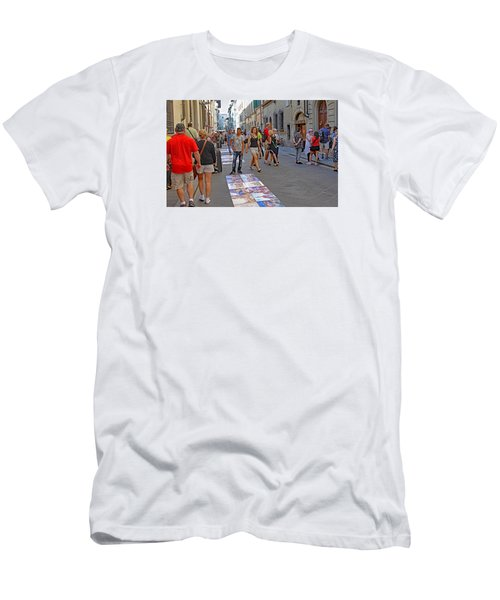 Vendors Selling Reproductions On The Street Men's T-Shirt (Slim Fit) by Allan Levin