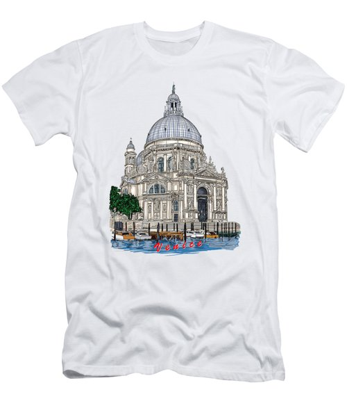 Men's T-Shirt (Slim Fit) featuring the drawing Venice  by Andrzej Szczerski