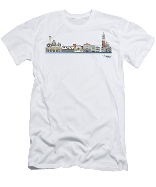 Venice Skyline Colored Men's T-Shirt (Athletic Fit)