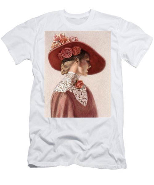 Victorian Lady In A Rose Hat Men's T-Shirt (Athletic Fit)