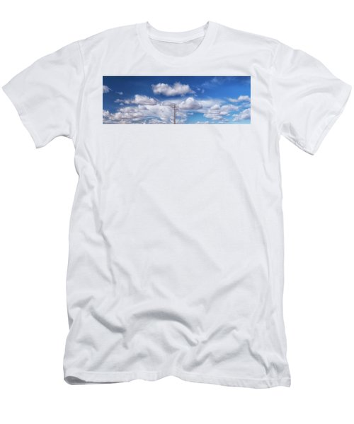 View Of A Phone Pole Men's T-Shirt (Slim Fit) by Gary Warnimont