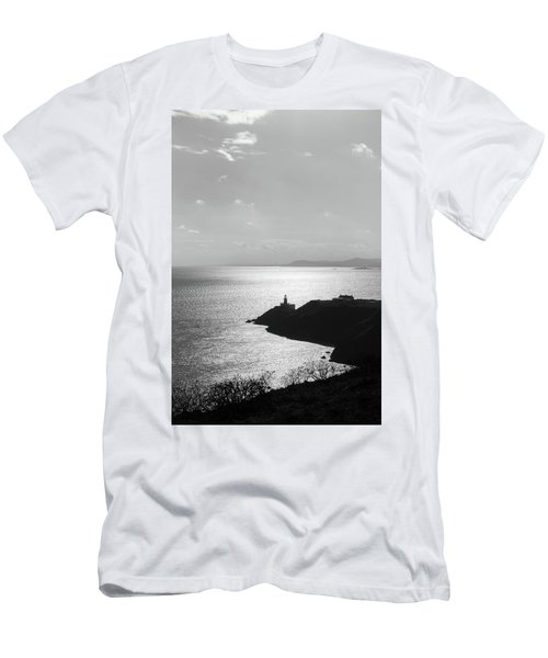 View Of Howth Head With The Baily Lighthouse In Black And White Men's T-Shirt (Slim Fit) by Semmick Photo