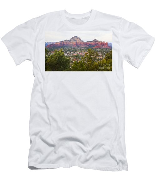 Men's T-Shirt (Slim Fit) featuring the photograph View Of Sedona From The Airport Mesa by Chris Dutton