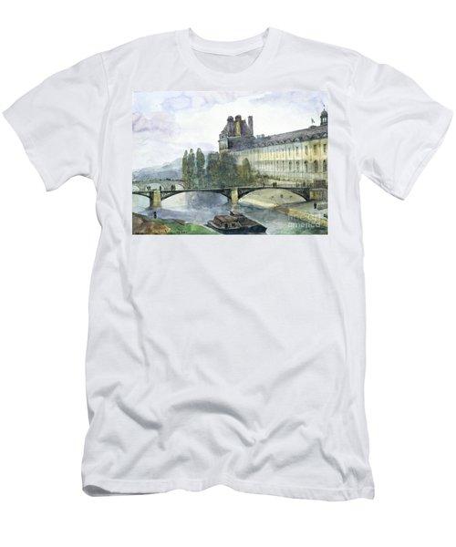 View Of The Pavillon De Flore Of The Louvre Men's T-Shirt (Slim Fit) by Francois-Marius Granet