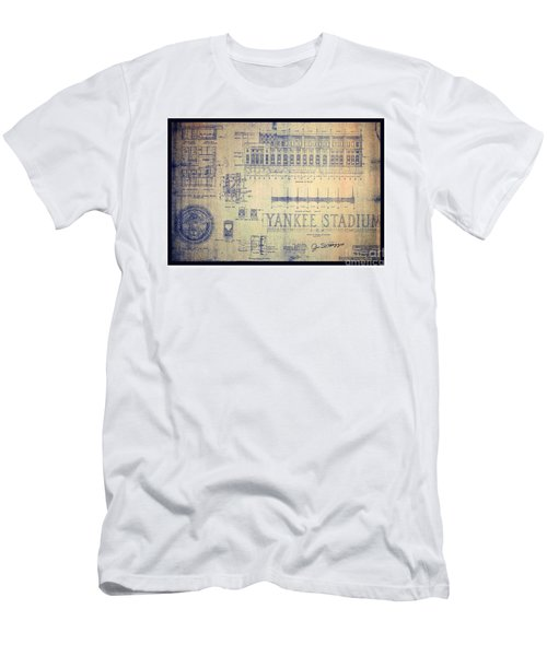 Men's T-Shirt (Athletic Fit) featuring the drawing Vintage 1920s Art Deco Yankee Stadium Blueprint Autographed By Joe Dimaggio by Peter Gumaer Ogden