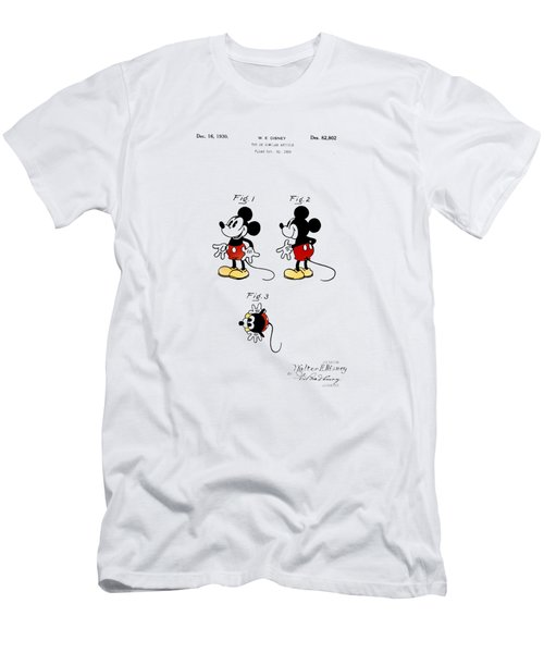Men's T-Shirt (Slim Fit) featuring the drawing Vintage 1930 Mickey Mouse Patent by Bill Cannon