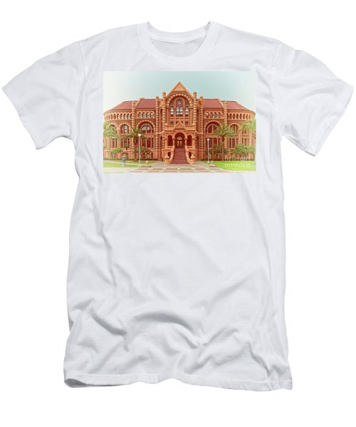 Vintage Architectural Photograph Of Ashbel Smith Old Red Building At Utmb - Downtown Galveston Texas Men's T-Shirt (Athletic Fit)