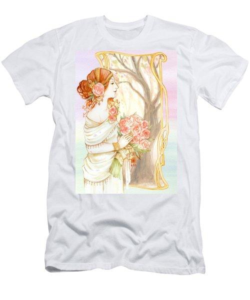 Vintage Art Nouveau Flower Lady Men's T-Shirt (Athletic Fit)