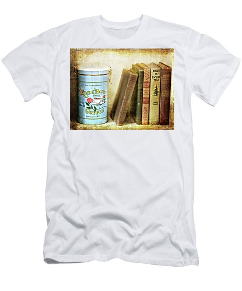 Men's T-Shirt (Athletic Fit) featuring the photograph Vintage Coffee And Books by Trina Ansel