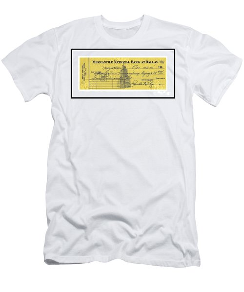 Men's T-Shirt (Athletic Fit) featuring the drawing Vintage Dallas Bank Check Signed By Jack Ruby Killer Of Lee Harvey Oswald by Peter Gumaer Ogden