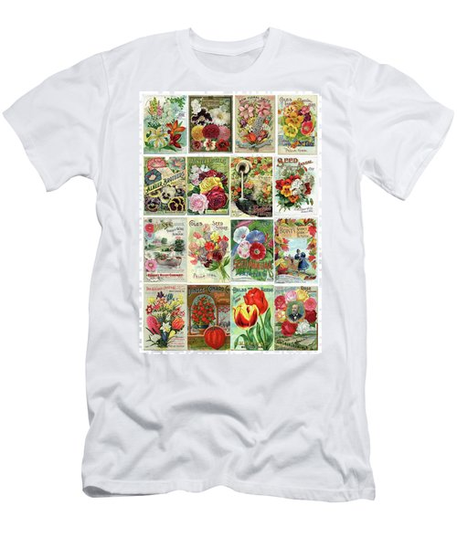 Men's T-Shirt (Slim Fit) featuring the drawing Vintage Flower Seed Packets 1 by Peggy Collins