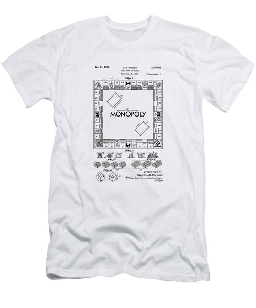 Men's T-Shirt (Slim Fit) featuring the photograph Vintage Monopoly Patent 1935 by Bill Cannon