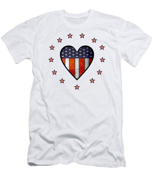 Vintage Patriotic Heart Men's T-Shirt (Athletic Fit)