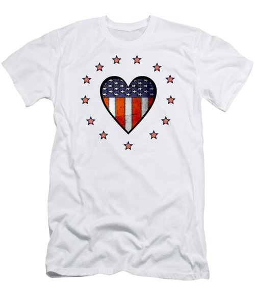 Vintage Patriotic Heart Men's T-Shirt (Athletic Fit)