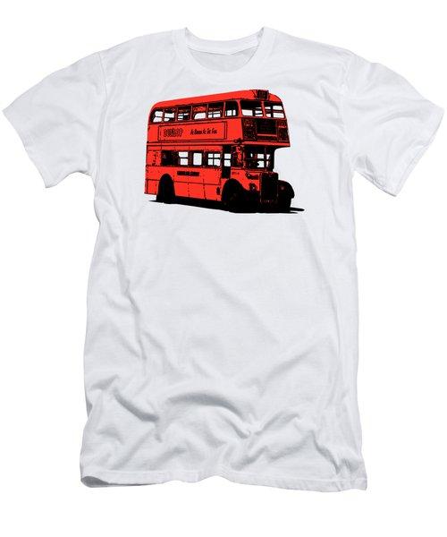 Vintage Red Double Decker London Bus Tee Men's T-Shirt (Slim Fit) by Edward Fielding