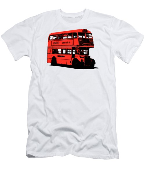 Vintage Red Double Decker London Bus Tee Men's T-Shirt (Athletic Fit)