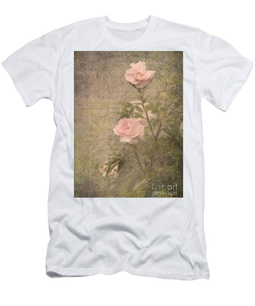 Men's T-Shirt (Slim Fit) featuring the photograph Vintage Rose Poster by Liz  Alderdice