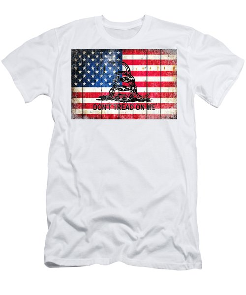 Viper On American Flag On Old Wood Planks Men's T-Shirt (Slim Fit) by M L C