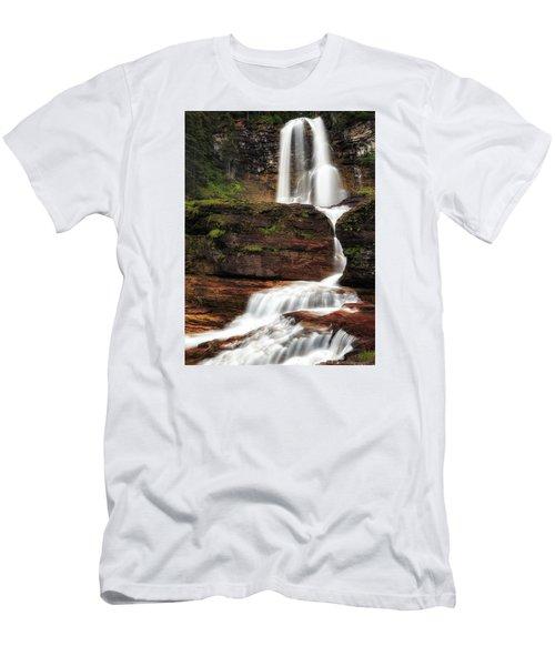 Virginia Falls Glacier National Park Men's T-Shirt (Slim Fit) by John Vose