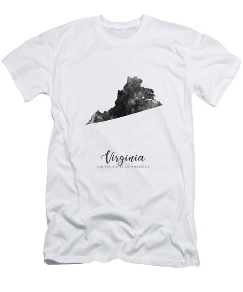 Virginia State Map Art - Grunge Silhouette Men's T-Shirt (Athletic Fit)