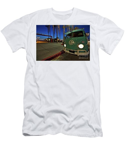 Volkswagen Bus At The Imperial Beach Pier Men's T-Shirt (Slim Fit) by Sam Antonio Photography