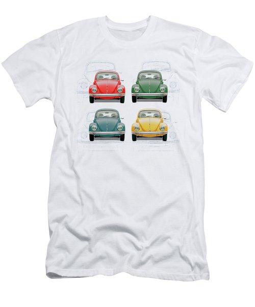 Volkswagen Type 1 - Variety Of Volkswagen Beetle On Vintage Background Men's T-Shirt (Athletic Fit)