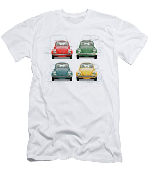 Volkswagen Type 1 - Variety Of Volkswagen Beetle On Vintage Background Men's T-Shirt (Athletic Fit)