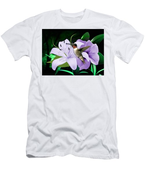 Men's T-Shirt (Athletic Fit) featuring the mixed media Voyage Hummingbird by Marvin Blaine