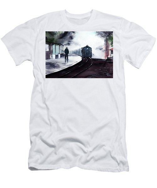 Men's T-Shirt (Slim Fit) featuring the painting Waiting by Anil Nene