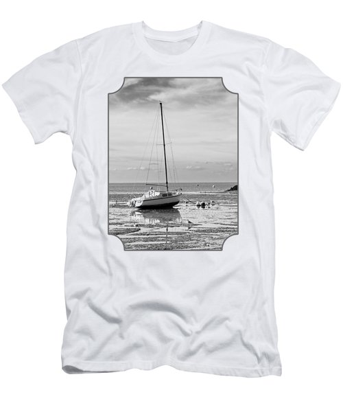 Waiting For High Tide Black And White Men's T-Shirt (Athletic Fit)
