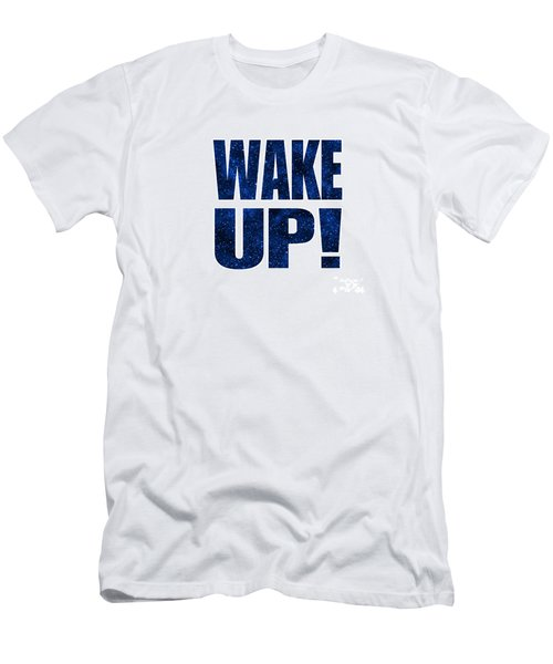 Men's T-Shirt (Slim Fit) featuring the digital art Wake Up White Background by Ginny Gaura
