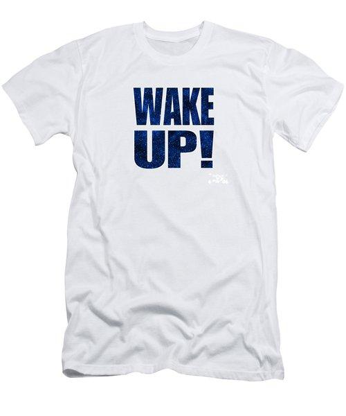 Wake Up White Background Men's T-Shirt (Slim Fit) by Ginny Gaura