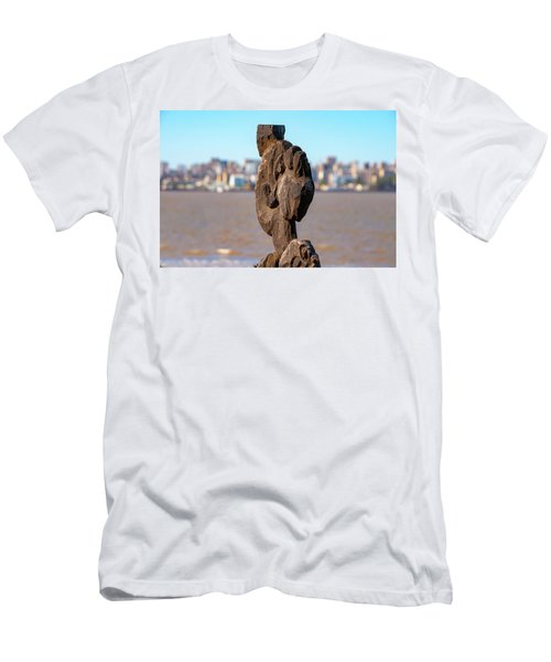 Walking Stick And Maputo Skyline Men's T-Shirt (Athletic Fit)