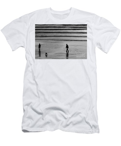 Walking The Dog At Marazion Men's T-Shirt (Slim Fit) by Brian Roscorla